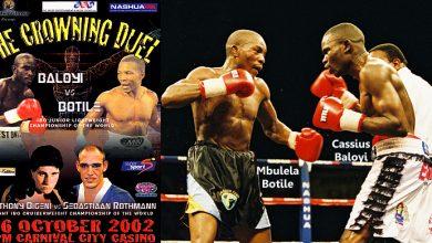Photo of Cassius Baloyi TKO 11 Mbulelo Botile – 26 October 2002